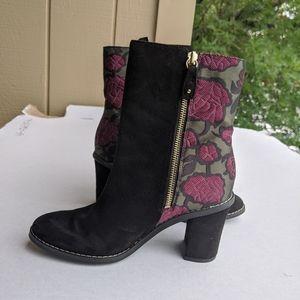 Dr Scholl's Vault black suede and floral  booties